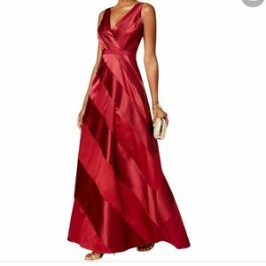 Adrianna Papell Banded Mikado Dress Cranberry